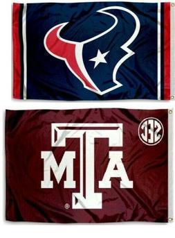 1 Houston Texans NFL & 1 Texas A&M 3x5 Sports Flags Large Ba