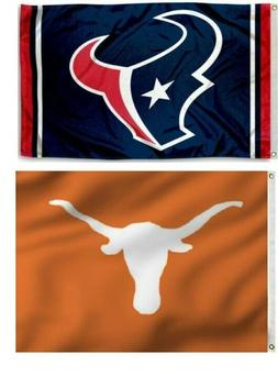 1 Texans  NFL & 1 Texas Longhorns 3x5 Sports Flags Large Ban