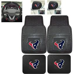 7pc NFL Houston Texans Heavy Duty Rubber Floor Mats & Steeri