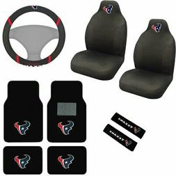 9pcs Set NFL Houston Texans Seat Covers Floor Mats Steering