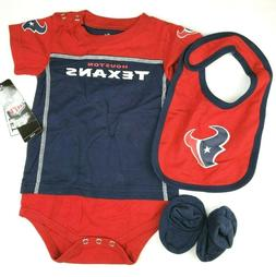 Baby Boy's NFL Houston Texans Bodysuit Creeper Bootie Bib Se