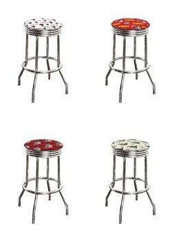 "Bar Stool 24"" or 29"" Tall Backless Swivel Seat Cushion w/ NF"