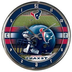 Chrome Round Wall Clock - NFL Houston Texans Football