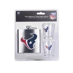 NFL Houston Texans 6oz Flask & 2oz Shot Set, Stainless Steel