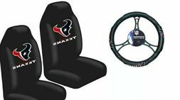 Houston Texans Car Truck 2 Front Seat Covers & Steering Whee