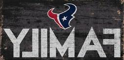 "Houston Texans Family 12"" x 6"" Wood Sign  NFL Plaque Wall Ba"