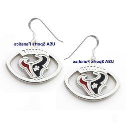 Houston Texans Football Logo Pendant Earrings With 925 Earri