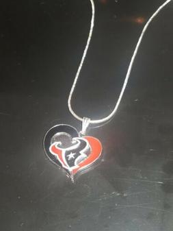 Houston Texans Heart Pendant Necklace Sterling Silver Chain
