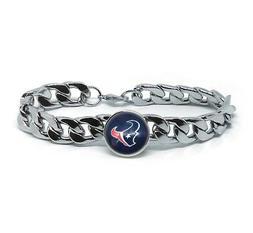 Houston Texans Silver Mens Curb Link Chain Bracelet Football