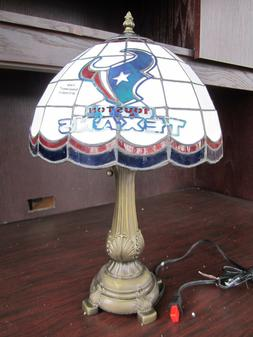HOUSTON TEXANS Tiffany Stained Glass Table Lamp NEW IN BOX N