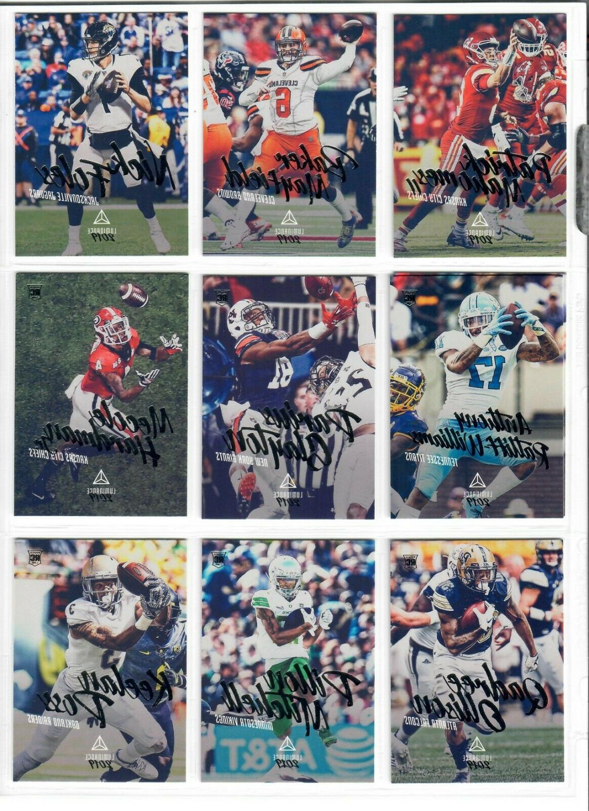 2019 panini luminance football base and rookies