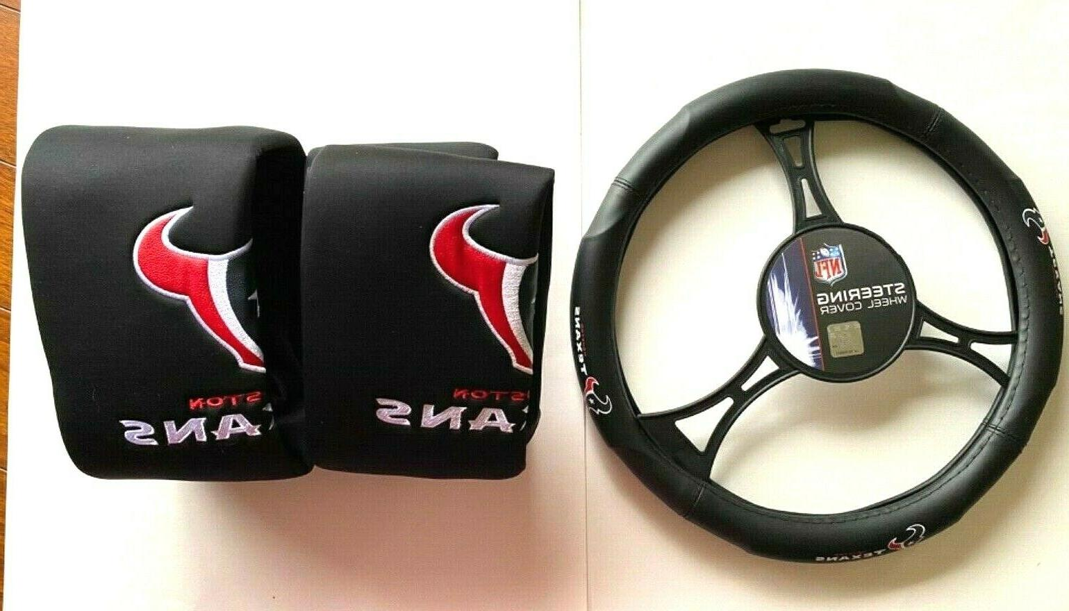 Houston Texans Car 2 Front Seat & Steering Wheel Cover Set