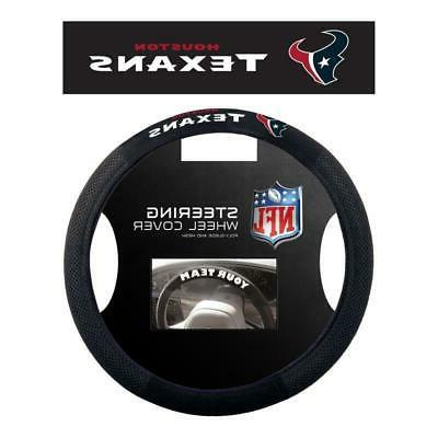 houston texans poly suede steering wheel cover