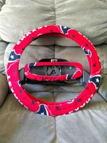 houston texans red fleece steering wheel cover