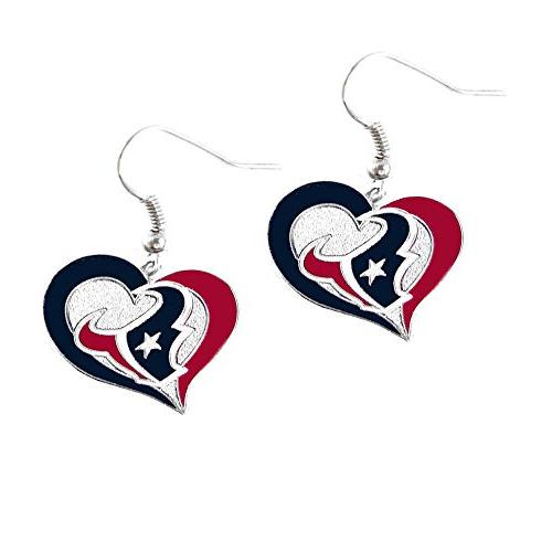 NFL Houston Texans Swirl Heart Earring Dangle Logo Charm Gif