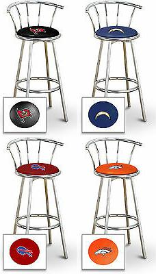 "BAR STOOL NFL TEAM LOGO 24"" TALL CHROME FINISH METAL COLORED"