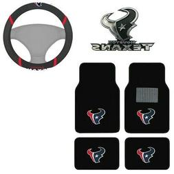 New NFL Houston Texans Car Truck Floor Mats Steering Wheel C