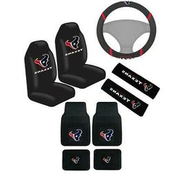 New NFL Houston Texans Car Truck Seat Covers Steering Wheel