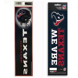 New NFL Houston Texans Die-Cut Vinyl Slogan Decal and Bumper