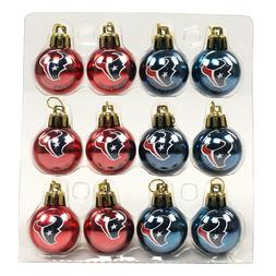 "NFL Houston Texans 1"" Mini Ball Christmas Ornament 12 Pack"