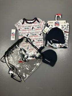 NFL Houston Texans 3-6 Months Baby Gift Set Bodysuit Hat Bla