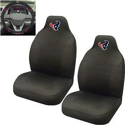 NFL Houston Texans Car Truck 2 Front Seat Covers & Steering