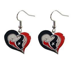 NFL Houston Texans Swirl Heart Earring Dangle Logo Charm Gif