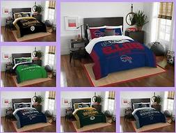 NFL Licensed 3 Piece Full Queen Comforter & Sham Bed Set In