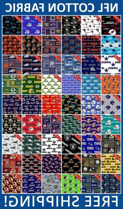 """NFL Sport All Teams Collection Cotton Fabric - 58-60"""" Wide -"""