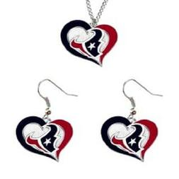 NFL Swirl Heart Necklace Houston Texans Chain