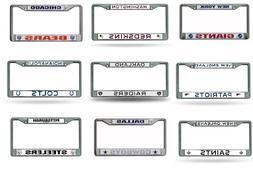 NFL Teams Chrome Metal Laser Cut License Plate Frame New