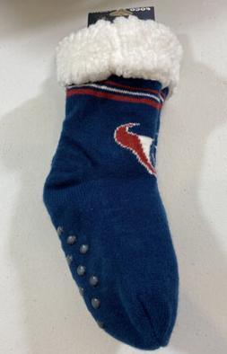 Youth FOCO Houston Texans Stripe Logo Footy Slippers Non Ski